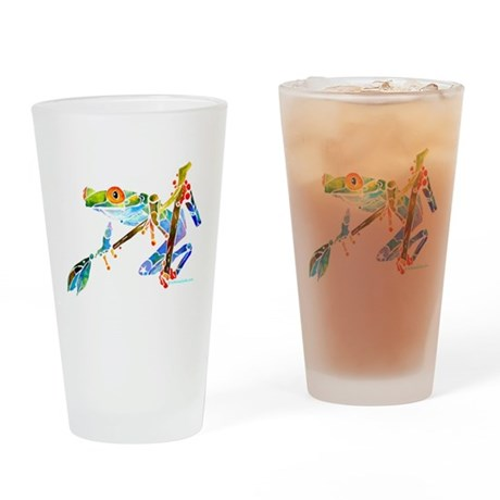 Crazy Tree Frogs Blue Drinking Glass