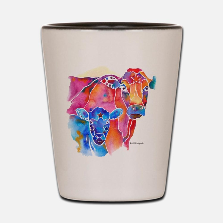 Cow and Calf Vivid Colors Shot Glass