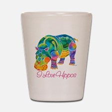 I Love Hippos of Many Colors Shot Glass