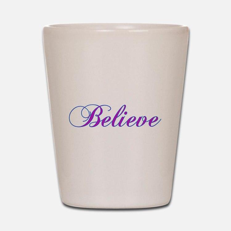 Believe Gifts in Purple & Teal Shot Glass