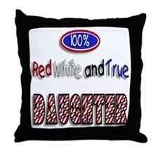 100% Red White and True DAUGH Throw Pillow