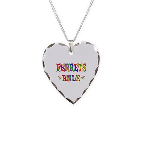 FERRETS RULE Necklace Heart Charm