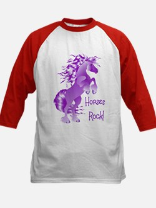 Horses Rock- Purple Kids Baseball Jersey