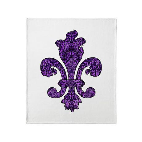 Purple Gothic Fleur Throw Blanket