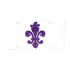 Purple Gothic Fleur Aluminum License Plate