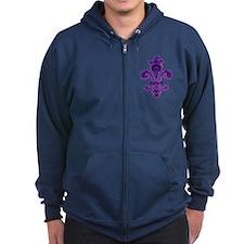 Purple Gothic Fleur Zip Hoodie