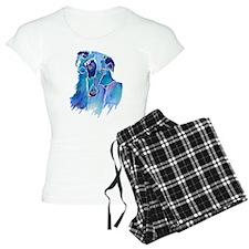 Borzoi Head in Blue Pajamas