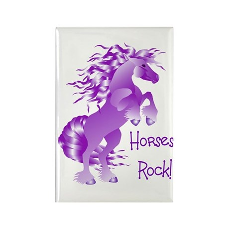 Horses Rock- Purple Rectangle Magnet