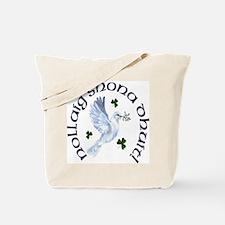 Gaelic Greetings Christmas Dove Tote Bag