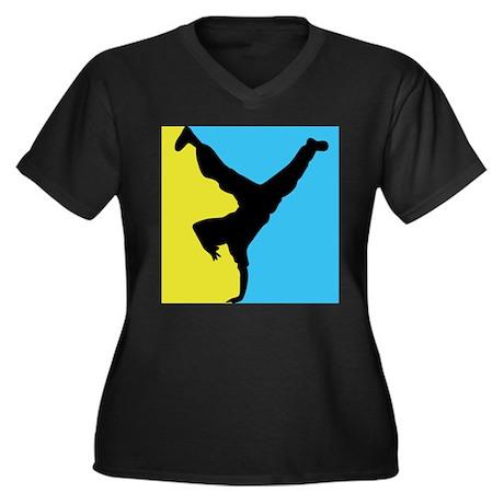 Breakdance Women's Plus Size V-Neck Dark T-Shirt