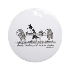 Sheep Herding Ornament (Round)