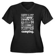 Camping Gift Women's Plus Size V-Neck Dark T-Shirt