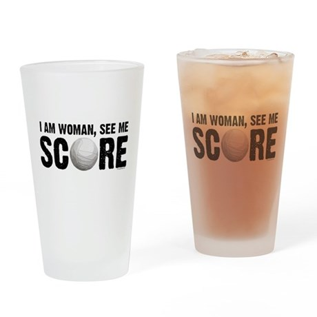 See Me Score Volleyball Drinking Glass