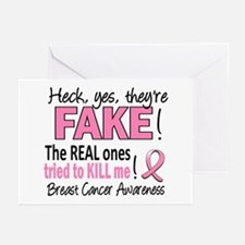 Yes They're Fake Breast Cancer Greeting Cards (Pk