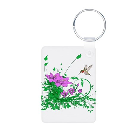 Hummingbird Garden Aluminum Photo Keychain