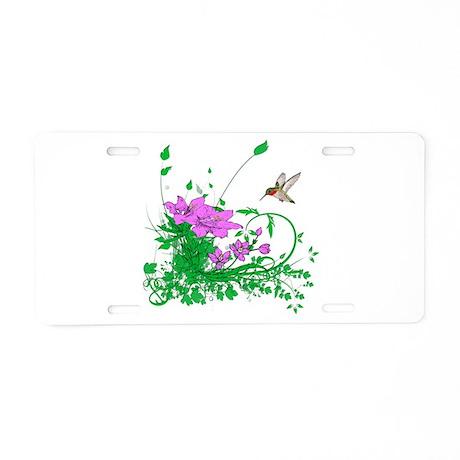 Hummingbird Garden Aluminum License Plate