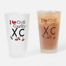 I heart Cross Country Running Drinking Glass