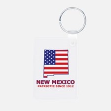 NM USA Flag Map 2 Keychains