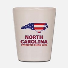 NC USA Flag Map 2 Shot Glass