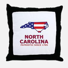 NC USA Flag Map 2 Throw Pillow