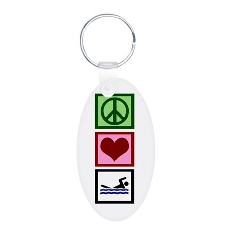 Peace Love Swimming Aluminum Oval Keychain