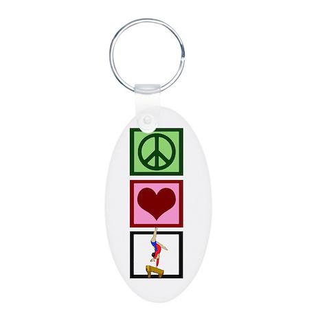 Peace Love Gymnastics Aluminum Oval Keychain