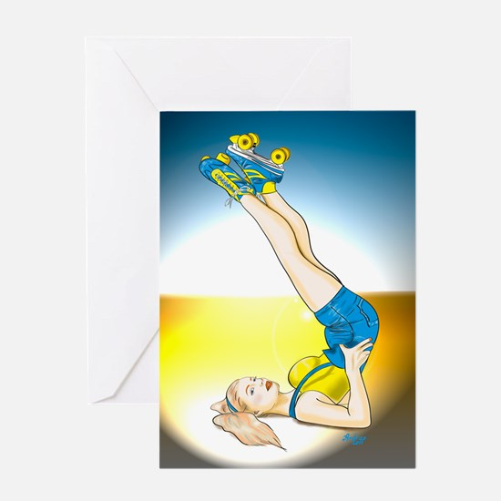 Roller Derby Girl Pin-up Greeting Card