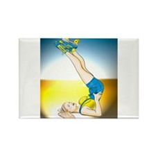 Roller Derby Girl Pin-up Rectangle Magnet
