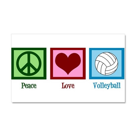 Peace Love Volleyball Car Magnet 20 x 12