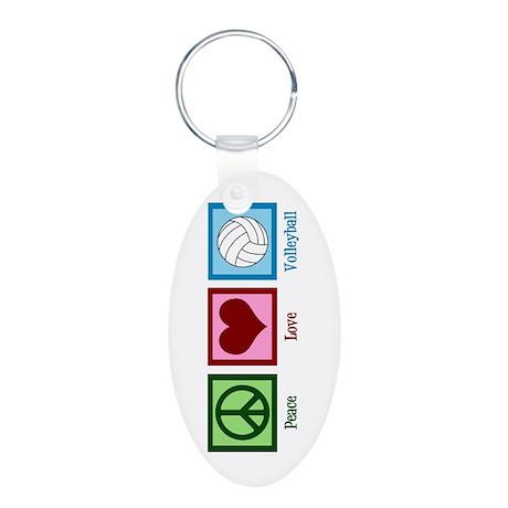 Peace Love Volleyball Aluminum Oval Keychain