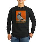 Blue Blondinette Pigeon Long Sleeve Dark T-Shirt