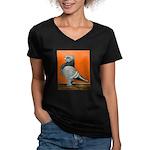Blue Blondinette Pigeon Women's V-Neck Dark T-Shir