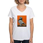 Blue Blondinette Pigeon Women's V-Neck T-Shirt