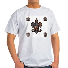Rusted Fleur de lis Ash Grey T-Shirt