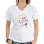 Rainbow Horse Flourish Women's V-Neck T-Shirt