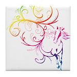 Rainbow Horse Flourish Tile Coaster