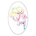 Rainbow Horse Flourish Sticker (Oval)