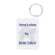 Home is where the Border Coll Aluminum Photo Keych