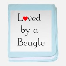 Loved by a Beagle baby blanket
