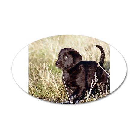 Black Lab Puppy 38.5 x 24.5 Oval Wall Peel