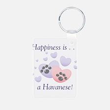 Happiness is...a Havanese Aluminum Photo Keychain