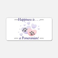 Happiness is...a Pomeranian Aluminum License Plate