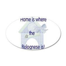 Home is where the Bolognese i 22x14 Oval Wall Peel