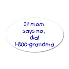 If mom says no...(blue) 22x14 Oval Wall Peel