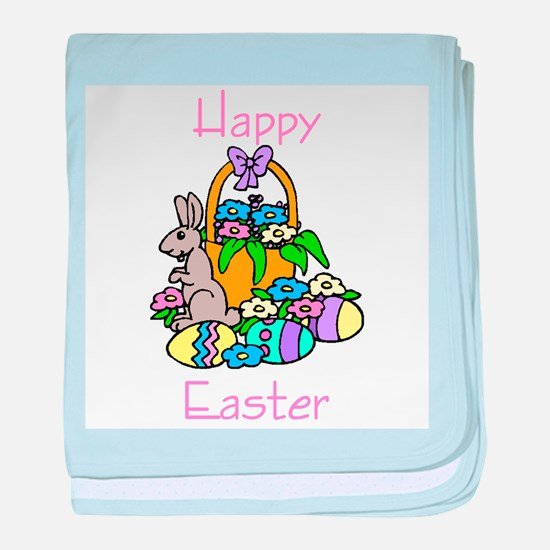 Happy Easter (bunny/flowers/e baby blanket