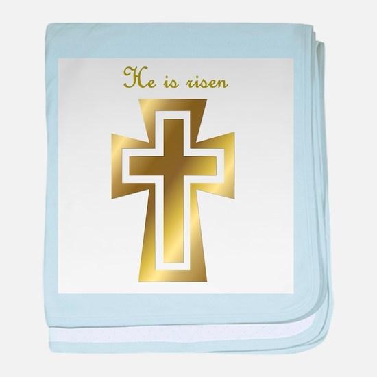 He is risen (cross) baby blanket