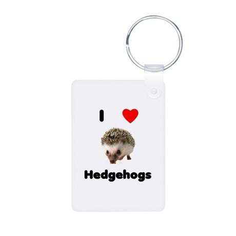 I Love Hedgehogs Aluminum Photo Keychain