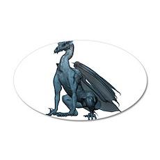 Sitting Blue Dragon (2) 22x14 Oval Wall Peel