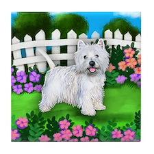 WEST HIGHLAND TERRIER DOG GARDEN Tile Coaster