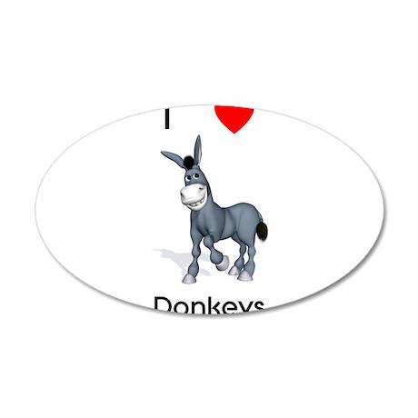 I love donkeys 38.5 x 24.5 Oval Wall Peel